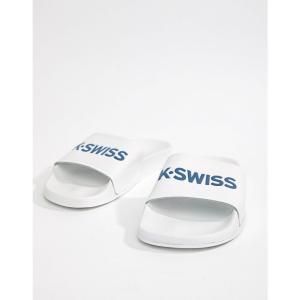 ケースイス メンズ サンダル シューズ・靴 Logo Sliders In White White fermart-shoes