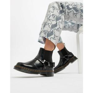ドクターマーチン Dr Martens レディース ブーツ シューズ・靴 Wincox Black Leather Harness Chunky Chelsea Boots Black|fermart-shoes