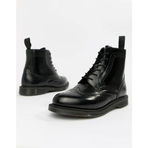 ドクターマーチン Dr Martens レディース ブーツ シューズ・靴 Delphine Brogue Black Leather Lace Up Flat Ankle Boots Black|fermart-shoes