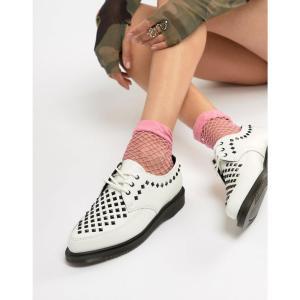 ドクターマーチン Dr Martens レディース スリッポン・フラット シューズ・靴 Willis White Leather Studded Flat Shoes White|fermart-shoes