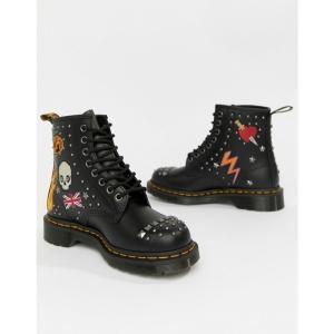 ドクターマーチン Dr Martens レディース ブーツ シューズ・靴 1460 Black Leather Rockabilly Flat Ankle Boots Black and white|fermart-shoes