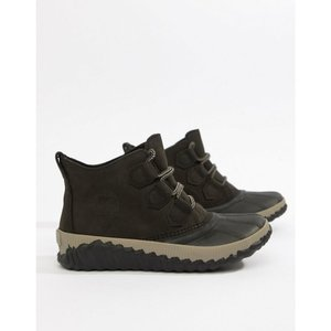 ソレル Sorel レディース ブーツ シューズ・靴 Out N About Black Plus Leather Boots Black|fermart-shoes