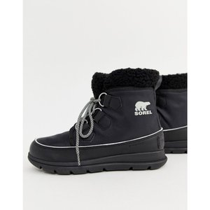 ソレル Sorel レディース ブーツ シューズ・靴 Explorer Carnival Waterproof Black Nylon Boots With Microfleece Lining Black|fermart-shoes