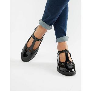 エイソス ASOS DESIGN レディース スリッポン・フラット シューズ・靴 Marky flat shoes Black patent fermart-shoes