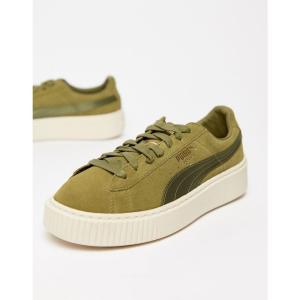 プーマ Puma レディース スニーカー シューズ・靴 Suede Platform Satin Trainer in olive Olive fermart-shoes