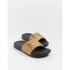 ナイキ Nike レディース サンダル・ミュール シューズ・靴 Black And Gold Benassi Jdi Logo Sliders Black/mtlc gold|fermart-shoes