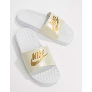 ナイキ Nike レディース サンダル・ミュール シューズ・靴 Benassi Jdi logo sliders in white and gold Beach|fermart-shoes