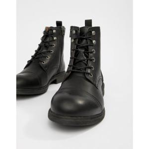 セレクテッド オム Selected Homme メンズ ブーツ シューズ・靴 Leather Lace Up Boot With Toe Cap Black|fermart-shoes