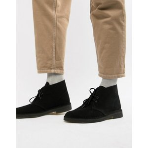 クラークス Clarks Originals メンズ ブーツ シューズ・靴 desert boots in black suede Black|fermart-shoes