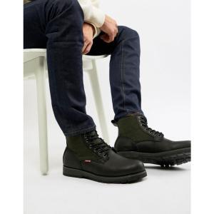 リーバイス Levis メンズ ブーツ シューズ・靴 Levi's logan leather boot with wool detail in black Regular black|fermart-shoes