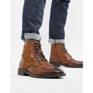 リーバイス Levis メンズ ブーツ シューズ・靴 Levi's whitfield leather boot with suede detail in medium brown Medium brown|fermart-shoes