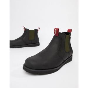 リーバイス Levis メンズ ブーツ シューズ・靴 Levi's jax leather chelsea boot in black Brilliant black|fermart-shoes