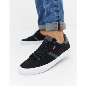 リーバイス Levis メンズ スニーカー シューズ・靴 Levi's skiiner regular black canvas trainers Black|fermart-shoes