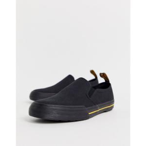 ドクターマーチン Dr Martens メンズ スリッポン・フラット シューズ・靴 Toomey slip on plimsolls in black canvas Black fermart-shoes