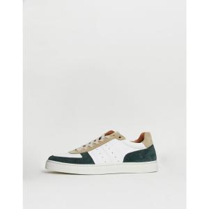 セレクテッド オム Selected Homme メンズ スニーカー シューズ・靴 retro leather trainers with contrast panels Rain forest|fermart-shoes