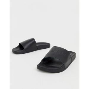 セレクテッド オム Selected Homme メンズ サンダル シューズ・靴 leather sliders Black|fermart-shoes