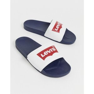 リーバイス Levi's メンズ サンダル シューズ・靴 Batwing sliders in white Navy blue|fermart-shoes