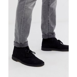 クラークス Clarks メンズ ブーツ シューズ・靴 Originals desert boots in black suede Black|fermart-shoes