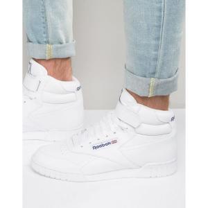 リーボック メンズ スニーカー シューズ・靴 Reebok Ex-O-Fit Hi-Top Trainers In White 3477 White fermart-shoes