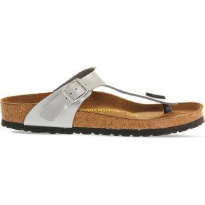 ビルケンシュトック レディース サンダル・ミュール シューズ・靴 faux-leather thong sandals Silver syn|fermart-shoes