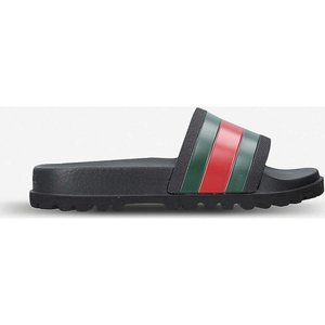 グッチ gucci メンズ サンダル シューズ・靴 pursuit striped rubber sliders Black|fermart-shoes