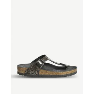 ビルケンシュトック レディース サンダル・ミュール シューズ・靴 gizeh metallic sandals Metallic black|fermart-shoes