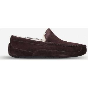 アグ ugg メンズ スリッパ シューズ・靴 ascot suede and fleece slippers Dark brown|fermart-shoes
