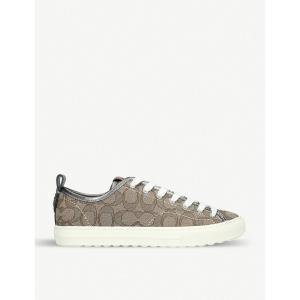 コーチ coach レディース スニーカー シューズ・靴 c121 logo-print canvas and leather trainers Khaki|fermart-shoes