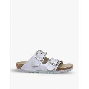 ビルケンシュトック birkenstock レディース サンダル・ミュール シューズ・靴 arizona big buckle metallic-suede sandals Washed metallic blue fermart-shoes