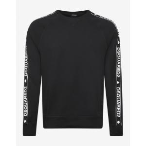 ディースクエアード Dsquared2 メンズ スウェット・トレーナー トップス Black Logo Tape Sweatshirt Black|fermart-shoes