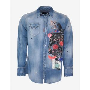 ディースクエアード Dsquared2 メンズ シャツ トップス Botanical Print Wash Denim Shirt Blue|fermart-shoes
