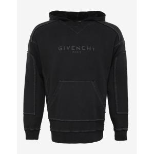 ジバンシー Givenchy メンズ パーカー トップス Distressed Seam Logo Hoodie Black|fermart-shoes