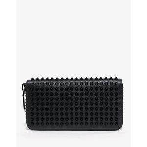 クリスチャン ルブタン Christian Louboutin メンズ 財布 Panettone Grain Leather Spikes Wallet Black|fermart-shoes