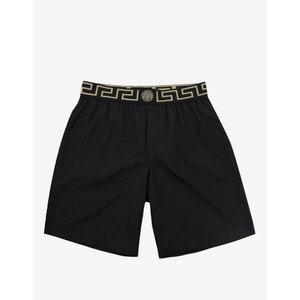 ヴェルサーチ Versace Gym メンズ 海パン 水着・ビーチウェア Greek Pattern Long Swim Shorts Black|fermart-shoes