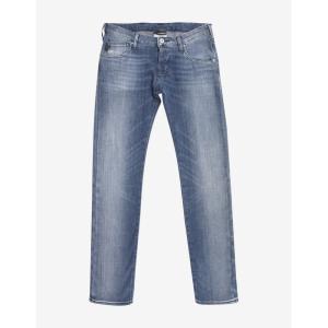 アルマーニ Emporio Armani メンズ ジーンズ・デニム ボトムス・パンツ Light Slim Denim Jeans with Eagle Logo Blue|fermart-shoes