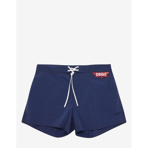 ディースクエアード Dsquared2 メンズ 海パン 水着・ビーチウェア DSQ2 Logo Badge Swim Shorts Blue|fermart-shoes