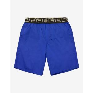 ヴェルサーチ Versace Gym メンズ 海パン 水着・ビーチウェア Blue Greek Key Long Swim Shorts Blue|fermart-shoes