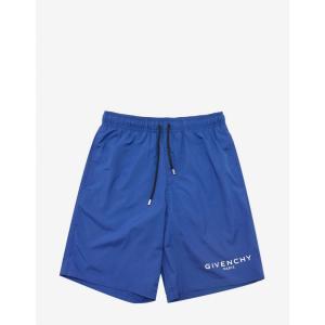 ジバンシー Givenchy メンズ 海パン 水着・ビーチウェア Blue Classic Logo Print Swim Shorts Black|fermart-shoes