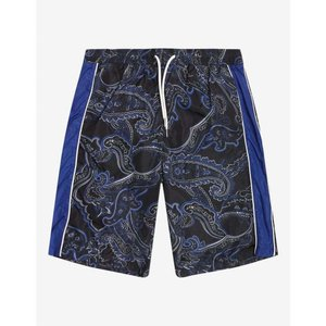 モンクレール Moncler メンズ 海パン 水着・ビーチウェア Navy Blue Paisley Print Swim Shorts Blue|fermart-shoes