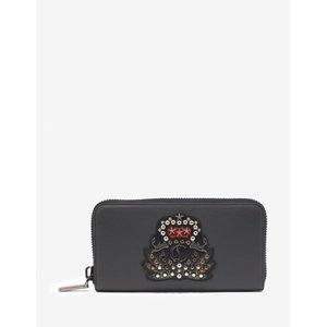 クリスチャン ルブタン Christian Louboutin メンズ 財布 Panettone Charbon Leather Wallet with Crest Grey|fermart-shoes