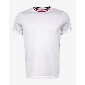 モンクレール Moncler メンズ Tシャツ トップス Tricolour Collar T-Shirt White|fermart-shoes