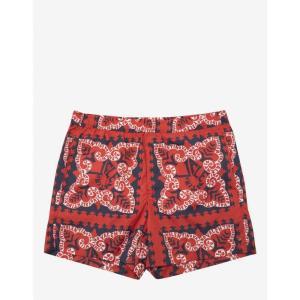 ヴァレンティノ Valentino メンズ 海パン 水着・ビーチウェア Red Mini Bandana Print Swim Shorts Red|fermart-shoes
