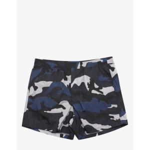 ヴァレンティノ Valentino メンズ 海パン 水着・ビーチウェア & Silver Camouflage Print Swim Shorts Blue|fermart-shoes