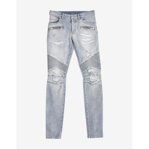 バルマン Balmain メンズ ジーンズ・デニム ボトムス・パンツ Light Repaired Biker Jeans Blue|fermart-shoes