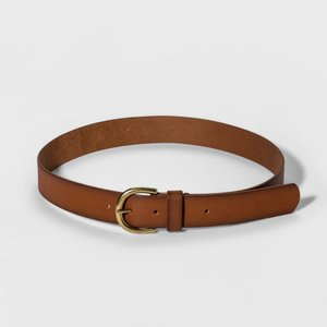 ユニバーサルスレッド Universal Thread レディース ベルト Casual Skinny Leather Jean Belt with Single Prong Buckle - Cognac|fermart-shoes
