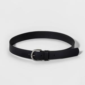 ユニバーサルスレッド Universal Thread レディース ベルト Casual Skinny Leather Jean Belt with Single Prong Buckle - Black|fermart-shoes