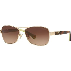 コーチ Coach レディース メガネ・サングラス HC7012 56mm Female Pilot Sunglasses gold/brown|fermart-shoes