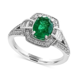 エフィー EFFY Collection レディース 指輪・リング Brasilica by EFFY Emerald (1-1/8 ct. t.w.) and Diamond (3/8 ct. t.w.) Ring in 14k White Gold|fermart-shoes