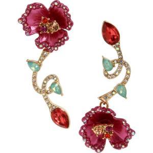 ベッツィ ジョンソン Betsey Johnson レディース イヤリング・ピアス ジュエリー・アクセサリー Floral Mismatch Earrings Fuschia|fermart-shoes