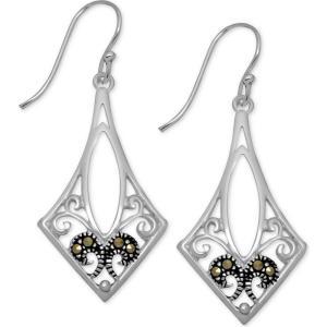 メイシーズ Macy's レディース イヤリング・ピアス ドロップピアス Marcasite Filigree Drop Earrings in Fine Silver-Plate Fine Silver Plated|fermart-shoes